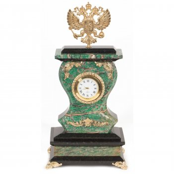 Часы герб березит змеевик бронза 140х95х290 мм 2700 гр.