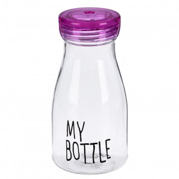 Бутылка для воды 380 мл my bottle, спортивная, прозрачная, микс, 7х14.5см