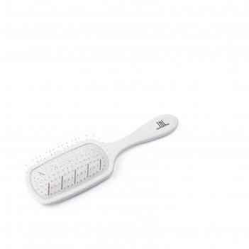 Щетка массажная для волос tnl bio прямоугольная, 68х228 мм, белая