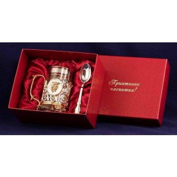 Набор для чая чай. малина (3 пр.) серебро-золото(латунь,покрытие-комбинир.