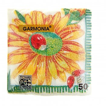 Салфетки бумажные, гармония цвета, многоцветие ромашки, 50 л