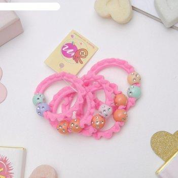 Резинка для волос магическая, 3 см, шарики розовый, (цена за 1 шт.),
