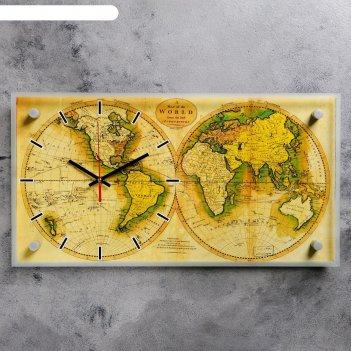 Часы настенные, серия: интерьер, карта мира, 26х52 см
