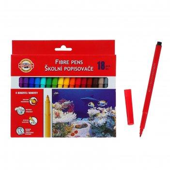 Фломастеры 18 цветов koh-i-noor 7710/18 рыбки, смываемые, трёхгранные, кар