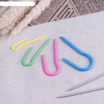 Спицы для вязания вспомогательные, 4 размера, цвета микс