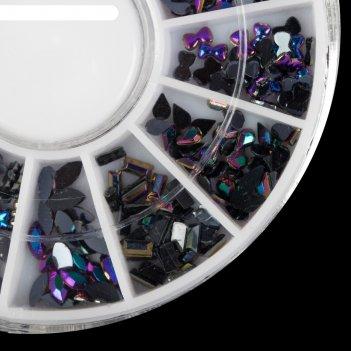 Стразы фигурн для ногтей карусель 12 яч ассорти микс чёрн голограф qf