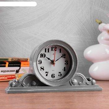 Часы настольные милица 26х14 см, корпус серый с белым