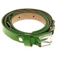 Ремень женский косичка, винт, пряжка - металл, ширина 1,5см, цвет зелёный