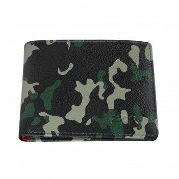 Портмоне zippo, зелёно-чёрный камуфляж, натуральная кожа, 10,8x2,5x8,6 см