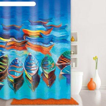 Штора для ванной комнаты 180х200 см boats, blue