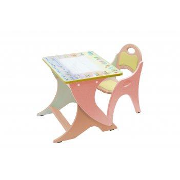 Столик с аппликацией, стульчик с регул по высоте прямоугольный буквы-цифры