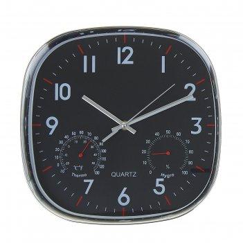 Часы настенные, серия: классика, плюс с гигрометром и термометром, хром, 3