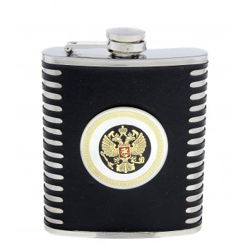 Фляжка 210 мл с медальоном герб россии