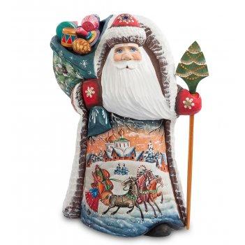 Фигурка дед мороз с подарками (резной) 24см