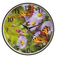 Часы настенные круглые бабочки на цветах, 30х30 см