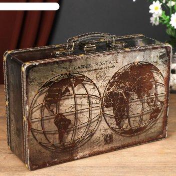 Шкатулка дерево кожзам перламутр чемодан глобус в разрезе 10х20х31 см