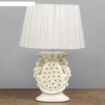 Лампа настольная ромашки белая с золотом е14 40w  27х19х35 см