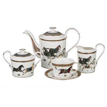 Чайный сервиз лошадь на 6 персон 15 пр. 1450/500/400/240 мл (кор=4набор.)