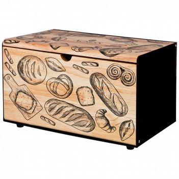 Хлебница agness металлическая с деревянной крышкой, 35.5*21.5*19.5cm