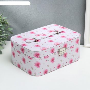 Шкатулка кожзам для украшений цветы на нежно-розовом 11х25,5х15,5 см