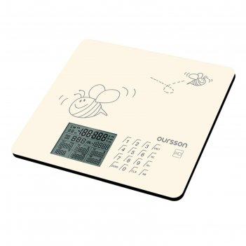 Весы кухонные oursson ks0502gd/iv, электронные, до 5 кг, сенсор, 1хcr2032,