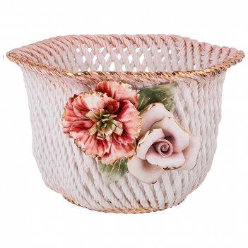 Изделие декоративное корзина с цветами диаметр=29 см. высота=18 см. (кор=1