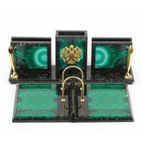 Настольный набор из змеевика с иллюстрацией малахит 300х225х110 мм 3100 гр
