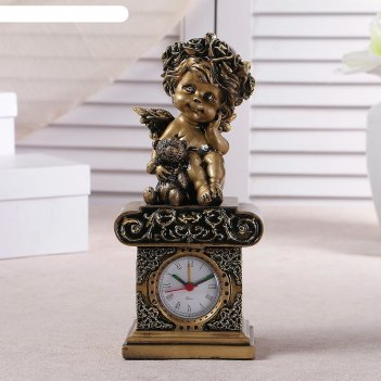 Часы настольные ангел с медвежонком, цвет золото, h=25.5 см