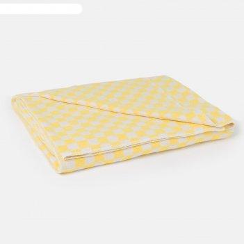 Одеяло байковое, 420 г/м2, 140х205 клетка жёлтый, 80% хлопок, 20% лавсан