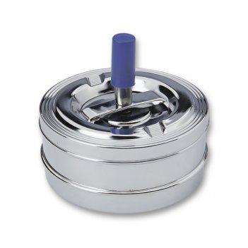 Пепельница s.quire круглая, сталь, покрытие никель, серебристый, с синей р