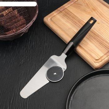 Нож-лопатка для пиццы хром, 29х6,5 см, цвет черный