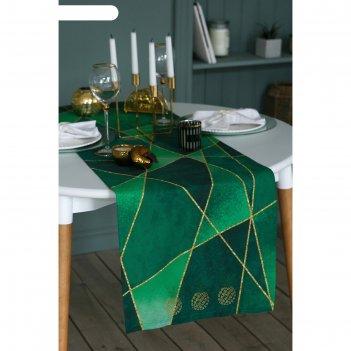 Дорожка на стол со стразами изумруд 40х146 см, 100% хл, саржа 190 гр/м2