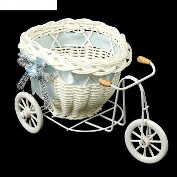 Корзинка декоративная велосипед с кашпо, микс