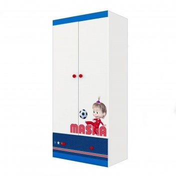 Шкаф двухсекционный polini kids fun 890 «маша и медведь», синий