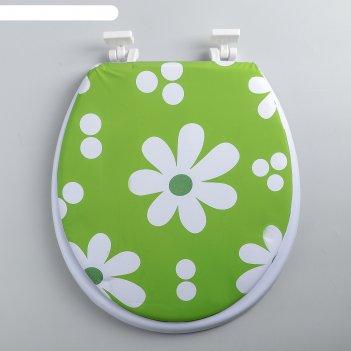 Сиденье для унитаза мягкое белые цветы на зеленом