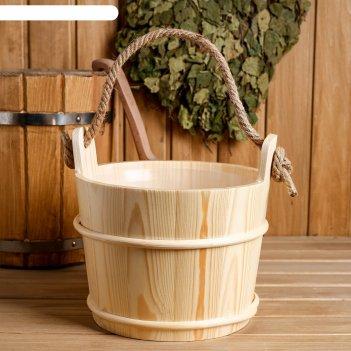 Ведро для бани с пластиковой вставкой, 5 литра 28х22х21 см