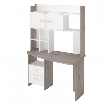 Компьютерный стол, 1200 x 690 x 1785 мм, правый угол, цвет нельсон/белый