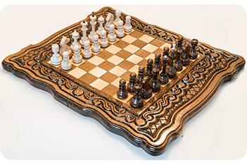 Шахматы + нарды резные бриз 40, haleyan
