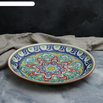 Ляган круглый «риштан», 41 см, белый с синим, красно-жёлто-зелёный узор