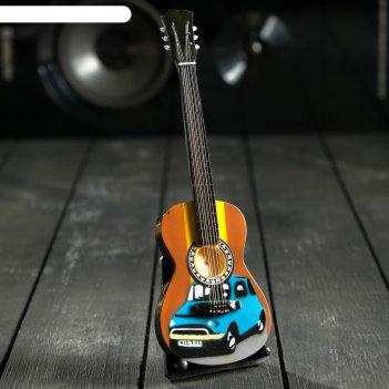 Гитара сувенирная акустическая с машиной, на подставке 24х8х2 см