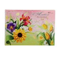 Альбом для рисования а4, 40 листов на гребне изящные цветы на розовом