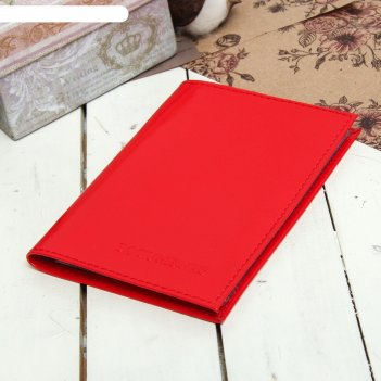 Обложка для автодокументов 10*1*13см, гладкий красный