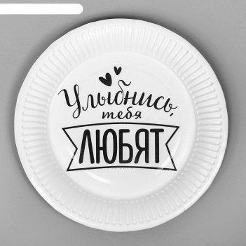 Тарелка бумажная хвалебная, набор 6 шт, виды микс