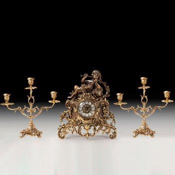Часы каминные с канделябрами на 3 свечи, набор из 3 предм.