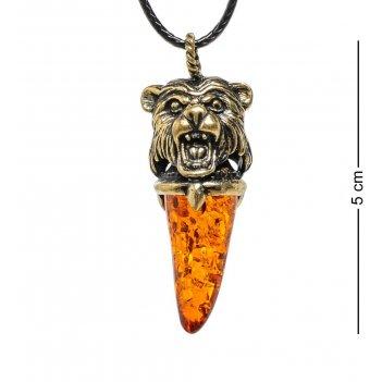 Am-1726 подвеска клык медведя (латунь, янтарь)