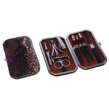 Набор маникюрный 8 предметов рептилия, цвет черно-коричневый