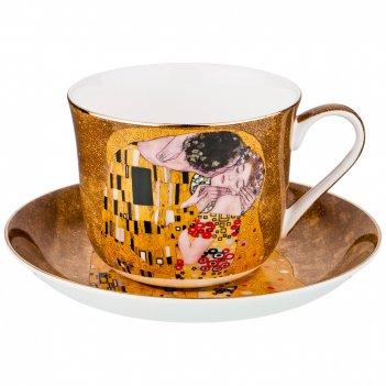Чайный набор на 1 персону поцелуй (г. климт) 2 пр. 500 мл золотой (кор=18ш
