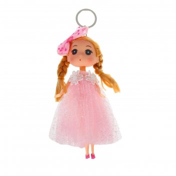 Мягкая игрушка-брелок «модница», с бантом, цвета микс