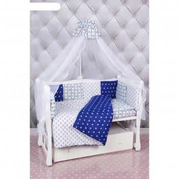 Комплект в кроватку premium «бриз», 18 предметов, бязь, синий/белый