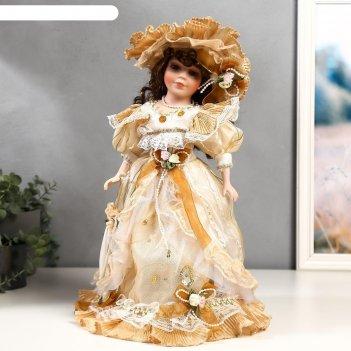 Кукла коллекционная керамика мэри в жёлто-кофейном платье 40 см